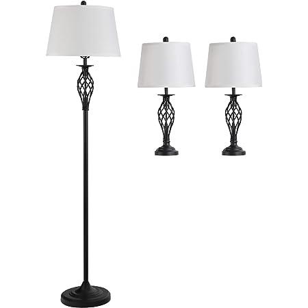 HOMCOM Lot de 3 luminaires Design Contemporain - lampadaire sur Pied + 2 Lampes de Tables - métal Noir Polyester Coton Blanc