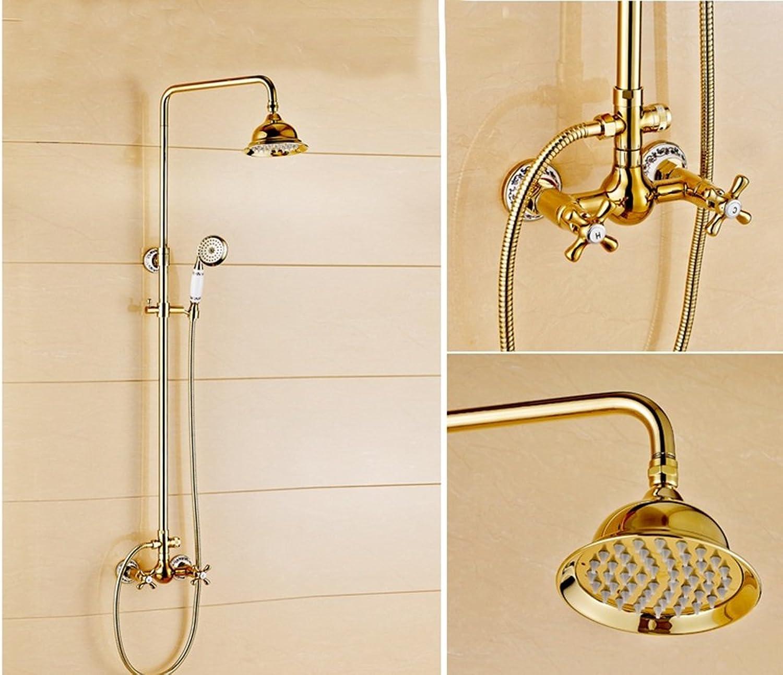 PIGE Europische Allkupfer Dusch-WC mit warmen und kalten regen Absatz Goldene Quadrat Hahn Badezimmer-Suite