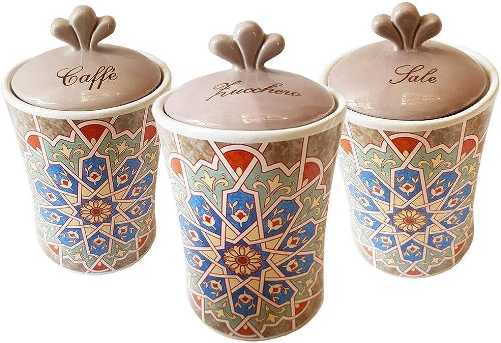Tris di barattoli , zucchero ,  caffè ,  sale , in stile maioliche marrakech , in ceramica