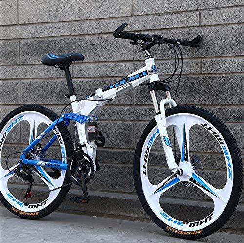 GASLIKE Bicicleta de montaña Plegable con Ruedas de 26 Pulgadas, suspensión Doble para Hombres y Mujeres, Marco de Acero de Alto Carbono, Freno de Disco de Acero,Blanco,24 Speed