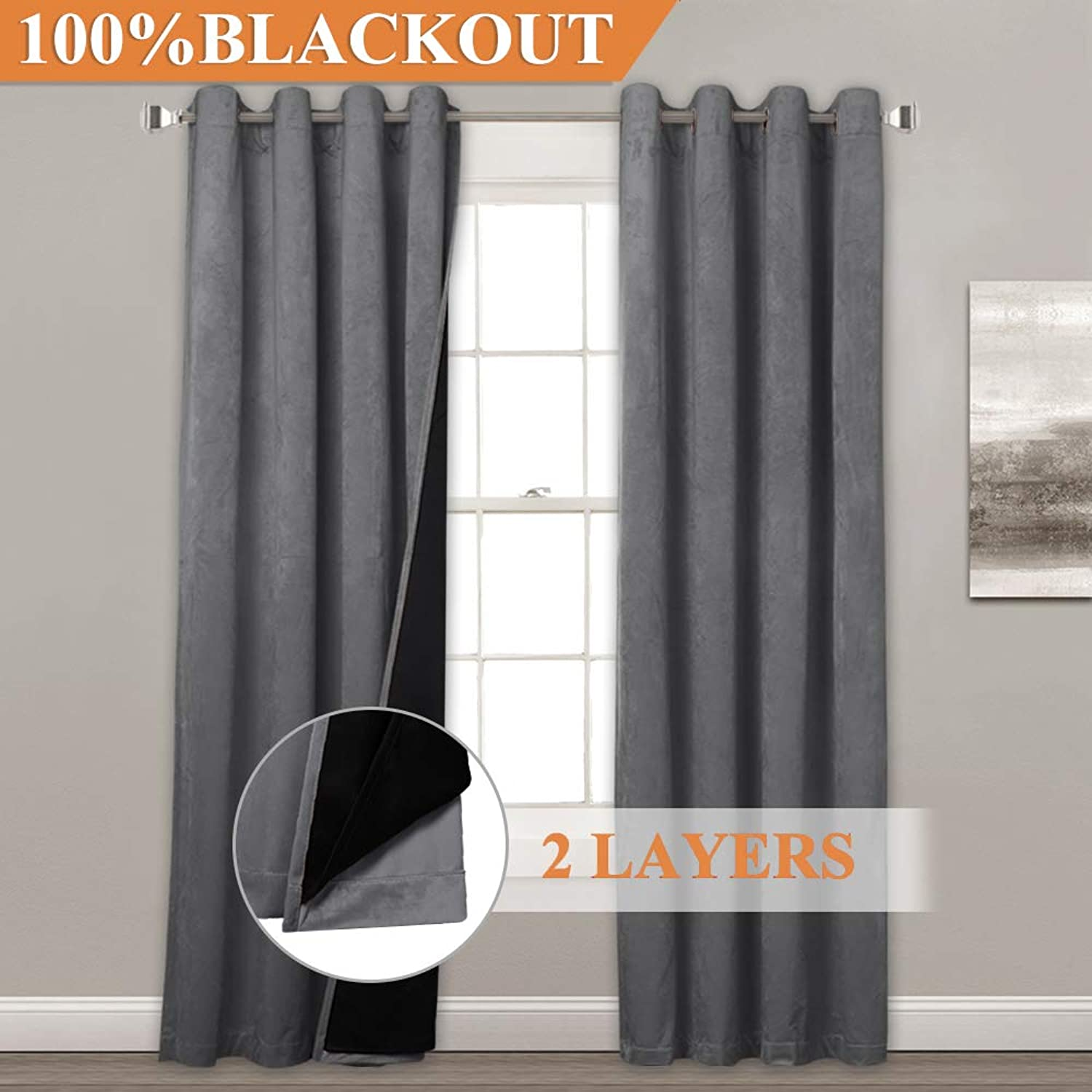 StangH 2 Thick Layers 100% Blackout Window Treatment Thermal Insulated Soft Velvet Textured Curtains with Black Liners, Elegance Privacy Drapes for Bedroom Window Dressing, Grey, W52 x L84, 2 Panels