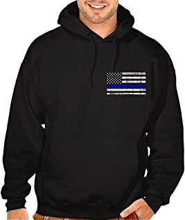 Interstate Apparel Men's Thin Blue Line Police Flag Black Pullover Hoodie Sweater Black