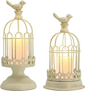 Decorative Bird Cage Candle Holder White Vintage Candle Lanterns Set of 2 for Wedding Candle Centerpieces Reception Home F...