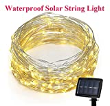SuTon 72ft 200 LEDs 8 Modes Waterproof Solar String Light with Flexible Silver