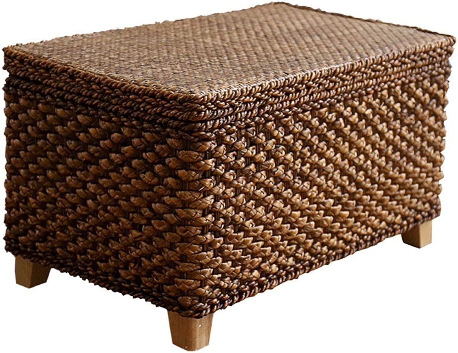 Footstool Rattan Weaving Storage Stool Change shoes Bench Footrest Can Sit 50X30X40CM Sofa Stool Haiming (Size   50X30X30CM)
