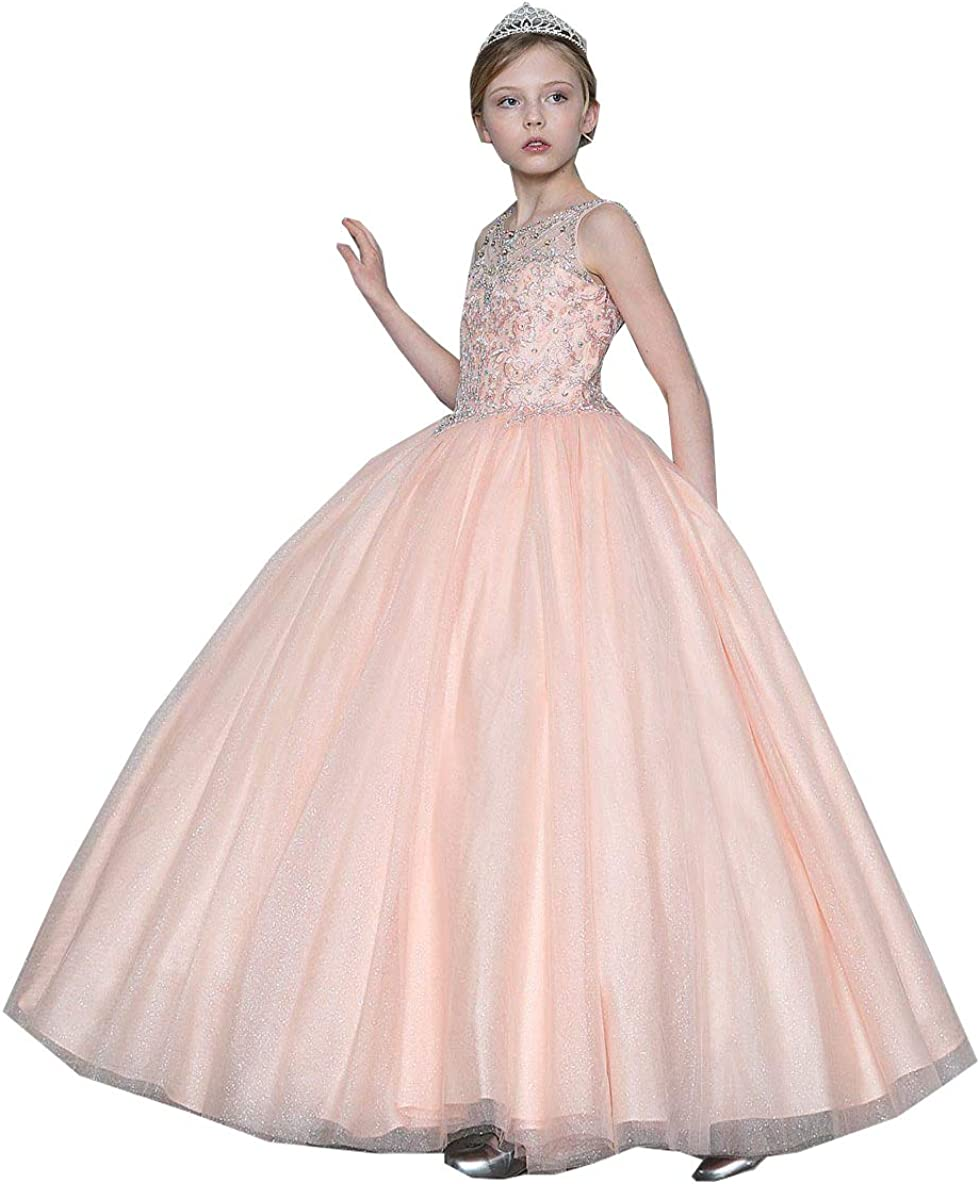 M_RAC Girls' Sleeveless Beading Pageant Dresses Princess Party Wedding Tull Ball Gown