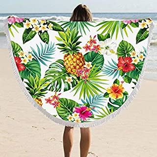 ARIGHTEX Pineapple Fruit Large Round Picnic Mat Beach Towel Blanket with Tassels 60