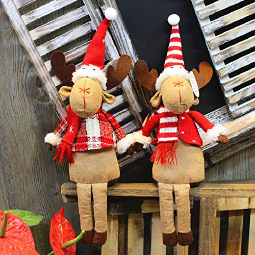 GSDJU Adorno de Navidad, para el hogar, cumpleaños, fiesta, Año Nuevo, Acción de Gracias, 2 piezas de 35 cm, bonito juguete de peluche de alce de Navidad para niños, decoración para el hogar