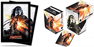 BUNDLE: Magic: the Gathering - MTG Magic Origins Planeswalker Gideon Jura (Deck Box & 80 Sleeves)