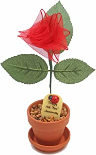 13th Year Wedding Anniversary Gift, Potted Lace-Ribbon Desk Rose, Perfect Present for Wife or Husband