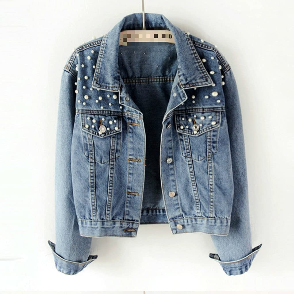 STRAW New Spring Autumn Fashion Women's Denim Jacket Full Sleeve Loose Button Pearls Short Lapel Wild Leisure Coat (Color : Blue, Size : M Code)
