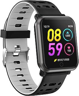 Smartwatch con Pulsómetros Actividad, Letopro Fitness Tracker ip68 Impermeable Monitor de Actividad,Apoyo presión sanguínea de sueño Podómetros Cronómetros SMS de llamada para iOS Android,Gris