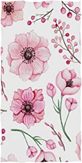 Naanle Watercolor Floral Pastel Print Pink Flower Berry Pattern On White Soft Bath Towel Absorbent Hand Towels Multipurpose for Bathroom Hotel Gym and Spa 30