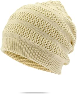 QinMei Zhou Autumn and Winter Knit hat Female Warm Wool hat bib Dual-use Twisted Knit hat Student hat Windproof Collar (Color : Beige, Size : M56-58cm)