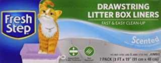 Fresh Step Drawstring Cat Litter Box Liners, Available in Scented and Unscented | 7 Count | Kitty Litter Bags