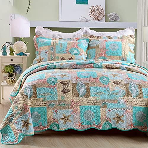 Bomullssängklädsel Set-andningsbar sängfilt-blommig quiltad sängöverdrag Klassisk design hela säsongen, sängöverdrag Lätt sängkläder, imiterad lapptryckssäng i tre delar,Green