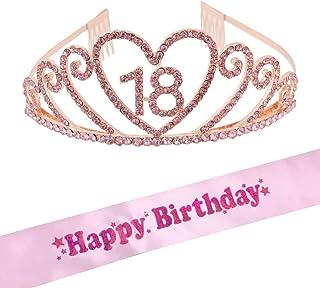 BETOY Diadema Corona Tiara Tiara de cumpleaños Cristal Tiara Coronas de Cumpleaños Hairband de Cristal Feliz de 18 años Ba...