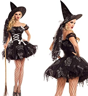 Women Halloween Costumes Wicked Witch Dress with Hat,Purple Long Sorceress Classic Dress