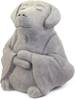 Modern Artisans Meditating Dog - Cast Stone Garden Sculpture : Large Size, Grey Stone Finish