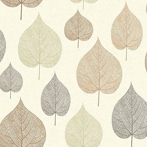 Crown Wallcoverings M1069 - Carta da parati a forma di foglia, colore: Marrone
