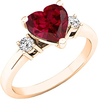Details about  /1Ct Heart Ruby /& Sim Diamond Womens Halo Hoop Earrings 14K Rose Gold Over Silver