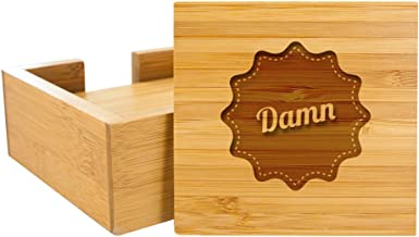 "Bamboo Engraved 4"" Square 4-Coaster Set with Holder, Swear Words"