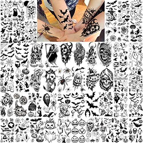 Shegazzi 52 Blatt Halloween Temporäre Tattoos Kinder Jungen Mädchen Frauen Männer, 3D Gruselig Skelett Fake Tattoo Zum Aufkleben Auf Die Haut Damen Erwachsene, Klein Geist Schläger Kürbis Spinne Tatoo