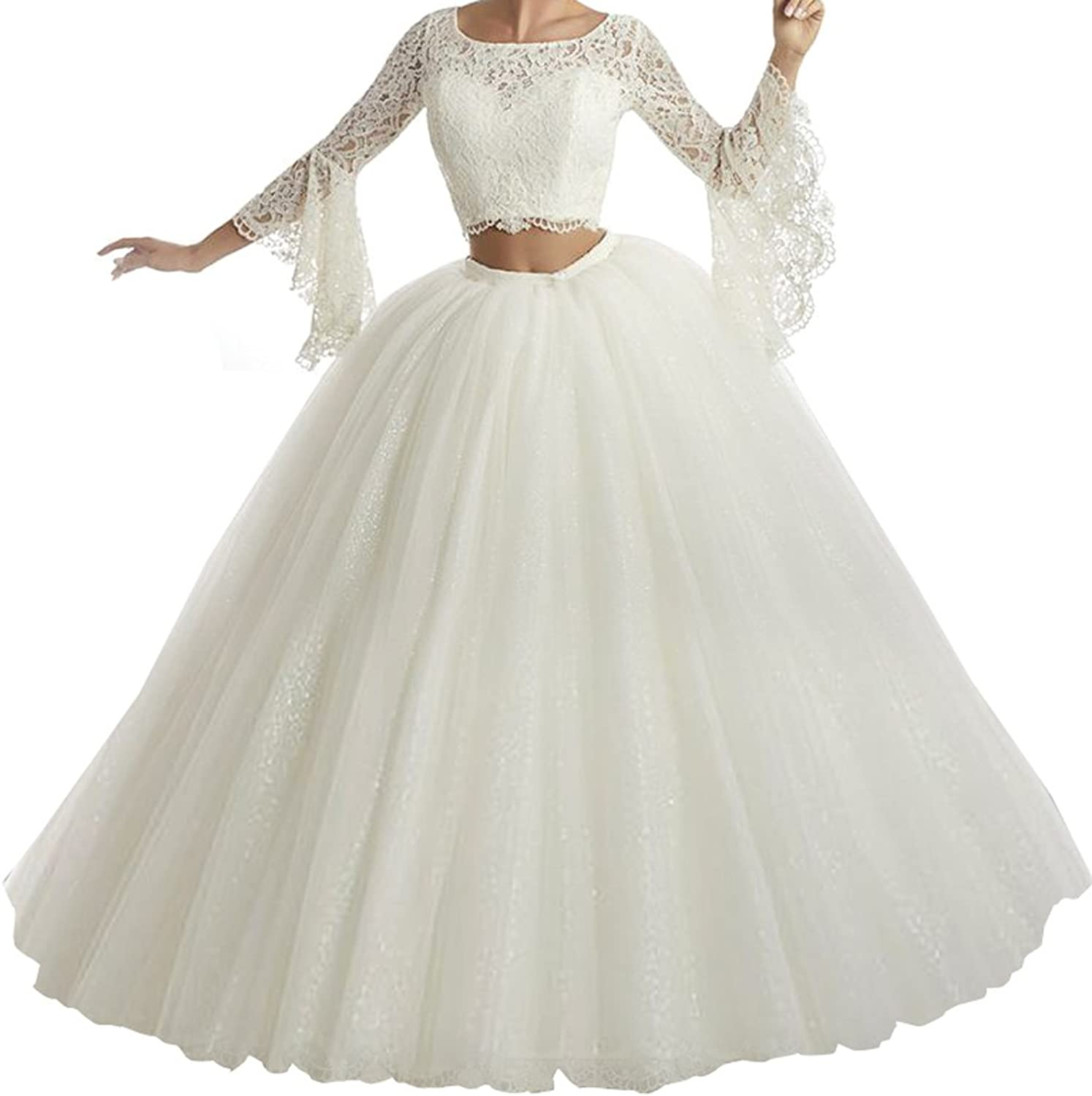 Yang Girls 15 16 Ball Gowns Long Sleeves Two Pieces Women Quinceanera Dress