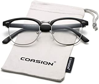 cba241467ee COASION Vintage Semi-Rimless Clear Glasses Fake Nerd Horn Rimmed Eyeglasses  Frame