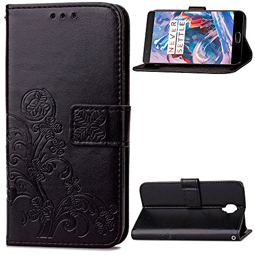 Tosim OnePlus 3T / OnePlus 3 Hülle Klappbar Leder, Brieftasche Handyhülle Klapphülle mit Kartenhalter Stossfest Lederhülle für OnePlus3T / OnePlus3 - TOSDA041452 Schwarz