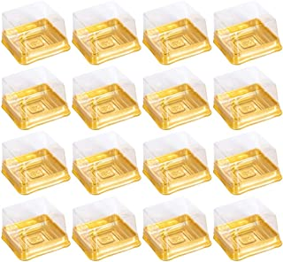 UPKOCH Moon Cake Boxes Square Plastic Baking Egg-Yolk Puff Container Packing Box for Cheese Cake Pastry Golden 5.5 x 5.5 x...