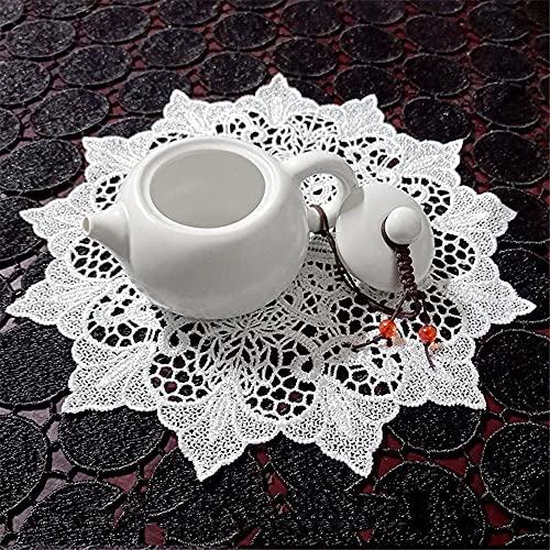 GIVBRO - Tovaglietta in pizzo all'uncinetto, con ricamo, tovaglia rotonda per decorazione per cuscino da tavola, colore: bianco