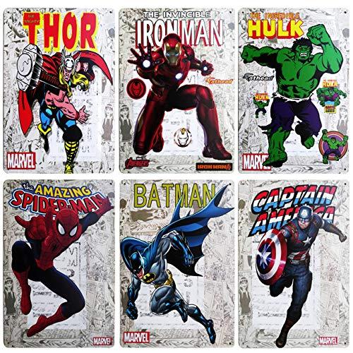 WOSTOD Superhero Avengers Marvel Comics Infinity War Incredible Hulk,Thor,Batman,American Captain,Iron Man,Spiderman Vintage Metal Tin Sign Retro Wall Art Decor for Kid's Bedroom 6Pcs-8X12Inch