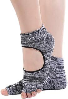 Kanggest., Kanggest.Calcetines Antideslizantes para Yoga Pilates Ballet Barre Mujer Hombre Ballet Calcentines de Pilates sin Dedos con Diseño de Empeine con Fugas Gris