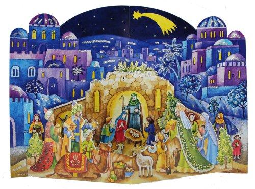 Grote tweedelige adventskalender 24 deuren 370 x 265 mm - Geboorteblauw Bethlehem pop up - met glitter en doorschijnende ramen - RS 572 - traditioneel antiek Duits design