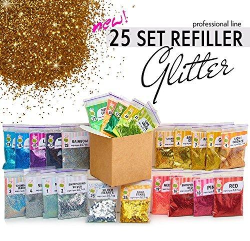 Glitter Powder for Slime - 25 Fine Glitter Set - Iridescent Body Glitter - Nail Art - Cosmetic - Holographic Heart and Star Fine Glitter Variety