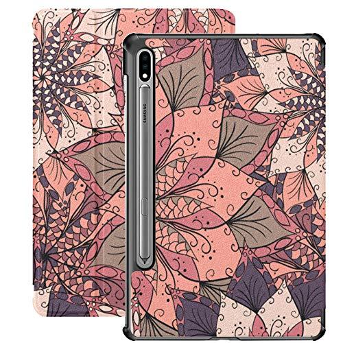 Funda Galaxy Tablet S7 Plus de 12,4 Pulgadas 2020 con Soporte para bolígrafo S, Mandala de Flores, Invitaciones, Funda Protectora con Soporte Delgado para Samsung