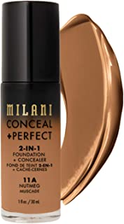 Milani Conceal + Perfect 2-in-1 Foundation + Concealer - Nutmeg (1 Fl. Oz.) Cruelty-Free Liquid Foundation - Cover Under-E...