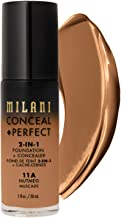 Milani Conceal + Perfect 2-in-1 Foundation + Concealer - Nutmeg (1 Fl. Oz.) Cruelty-Free Liquid Foundation - Cover Under-Eye Circles, Blemishes & Skin Discoloration for a Flawless Complexion
