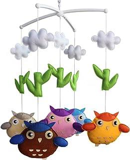 Wind-up de musique mobile, Bébé cadeau créatif jouets suspendus [hibou, coloré]