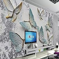 HGFHGD 3Dリビングルーム壁画蝶三次元レリーフTV背景壁紙家の装飾壁紙ウォールステッカーウォールアート