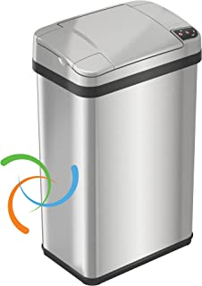 iTouchless Stainless Steel Trash Can, Touchless Sensor Lid, Odor Filter and Fragrance, 4 Gal