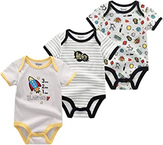 TONE Unisex Baby Body Einteiler Kurzarm Baumwolle Kleinkind Strampler 3er Pack