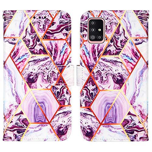 Nadoli Marmor Brieftasche Hülle für Samsung Galaxy A71,Geometrische Marmor Design Lederhülle mit Standfunktion Kartenfach Magnetverschluss Silikon Bumper Schutzhülle