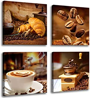 Kitchen Canvas Art Coffee Bean Coffee Cup Canvas Prints Coffee Wall Decor-4 Panels Framed Ready to Hang Coffee Image-Table Dining Room Canvas Wall Art Contemporary Pictures for Dining Home Decoration