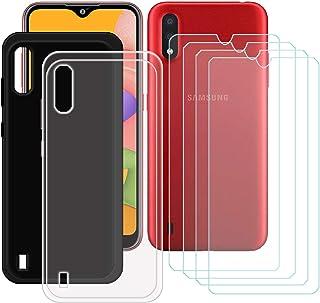 TTJ Svart + transparent fodral för Samsung Galaxy M01S + [4 st] HD pansarglas, mobiltelefonfodral silikon skyddande fodral...