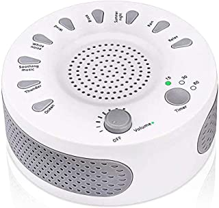 White Noise Sound Machine Portable Sleep Sound Therapy Machine with 3 Timers & 9 Natural Sound Options for Adult Baby Slee...