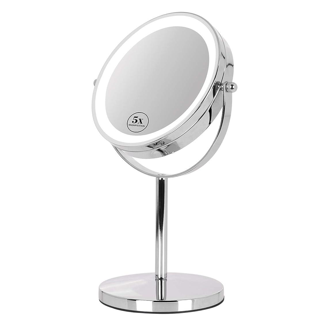 オーディション中級く卓上ミラー 鏡 化粧鏡 LED付き 真実の両面鏡DX 5倍拡大鏡 360度回転 卓上鏡 鏡面Φ165mm