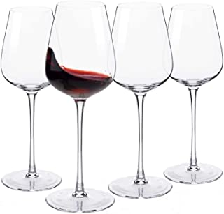 Hand Blown Italian Style Crystal Bordeaux Wine Glasses - Red Wine Glasses Lead Free Premium Crystal Clear Glass - Set of 4-18 Ounce - Safer Packaging for Any Occasion