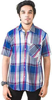 JPF Smart Stewart Mens Cotton Regular Fit Casual Half Sleeve Shirt with Pocket Colorful Summer Casual Clothing (Royal Blue)